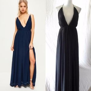 MISSGUIDED Black STRAPPY Pleated PLUNGE Neck GOWN